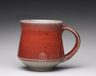 handmade pottery mug, ceramic teacup, coffee cup with bright red and green celadon glazes