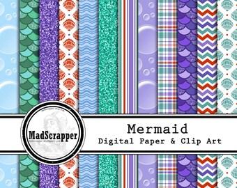 Digital Scrapbook Paper Mermaid Paper 12 Patterns 4 Solids 12 x 12 BONUS Clip Art Instant Download