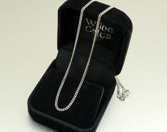 Sterling Silver Curb Chain Curb Link Chain Vintage Chain Necklace for Pendant Curb Necklace 16 Inches 40.6 cm 3.1 grams