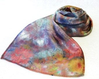 Hand-dyed Silk Scarf, Ice-Dyed Silk Scarf, Lavender Silk Scarf, Rose Silk Scarf, Lavender Scarf, Gold Silk Scarf, Lavender - # SS-16-10