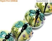 ON SALE 35% OFF Glass Lampwork Bead Set - Four Blue Dragonfly Lentil Beads 10504612