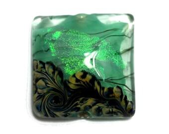 NEW! Handmade Glass Lampwork Bead - 11837404 Seafoam Shimmer Pillow Focal Bead