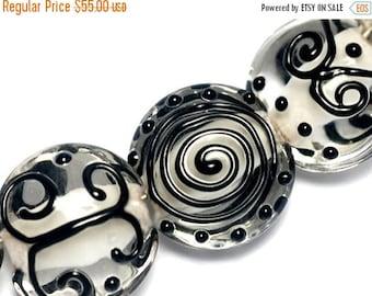 ON SALE 30% OFF Seven Black & White Lentil Beads -10202302-Handmade Glass Lampwork Bead