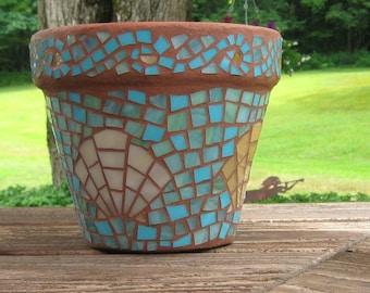 Stained Glass Scallop Shell Mosaic Terra Cotta Flower Pot, Mosaic Garden Decor, Terra Cotta Pot, Outdoor Decor, Aqua, Tan, Mosaic Planter
