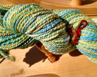 Bulky Handspun Yarn Merino Wool Sunshine in Blues and Yellows 128 yards 4.02 oz