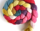 Finn Wool Roving - Hand Painted Spinning or Felting Fiber, Tuesday at Three