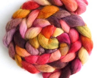 Corriedale Wool Roving - Hand Painted Spinning or Felting Fiber, End of the Day Heat