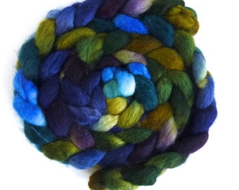 BFL Wool Roving - Hand Painted Spinning or Felting Fiber, Dark at the Edges