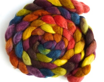 BFL Wool Roving - Hand Painted Spinning or Felting Fiber, Fall Confetti