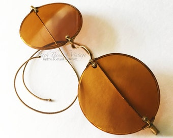1920's Willson Sunglasses Non Rx Round Rare Unique Indie Grunge Alternative Hippie John Lennon Gypsy Orange Coil Temples Rare Large