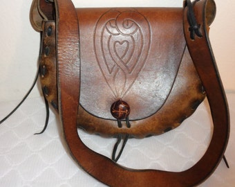 Thick soft tooled leather hand stitched purse,handmade satchel,  messenger bag ,warm earthy brown tan vintage