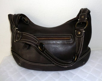Eddie Bauer hobo satchel bag purse in thick high quality  pebbled gen leather vintage early 90s pristine condition