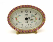 Linden Black Forest Oval Brass Alarm Clock Pink Rhinestone Crystals Made in West Germany Mid Century Kitsch