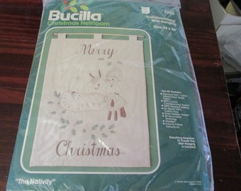 Embroidery Candlewicking Wall Hanging The Nativity Bucilla 82103 NIP Complete and Ready to Stitch