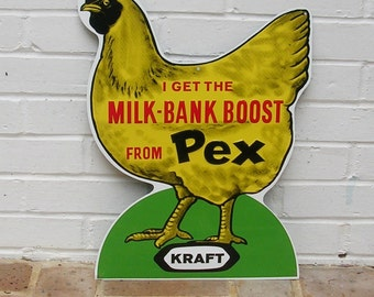 Vintage Metal Sign Vintage Kraft Pex Milk-Bank Boost Feed Sign 1950's NOS Vintage Advertisement