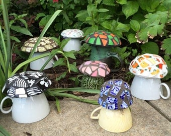 Mosaic Mushrooms - Garden Decor - Fairy House - Broken China Mosaic - Choice of Color