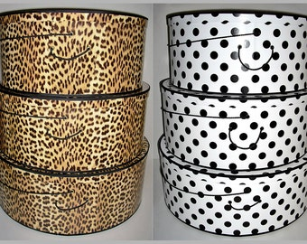 "Your Choice ~ SUPERSiZE ~ 20""~ 22"" & 24"" x 9"" Deep ~ Millinery HAT BOX ~ HATBOXES ~ Limited Edition ~ Stack of 3"