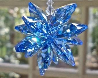 "Blue Cluster of Swarovski Crystals, Blue Crystal Car Charm, Prism, Blue Rainbow Maker for Car Rear View Mirror or Home - ""STELLA BLUE"""