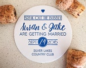 Custom one-color Save the Date coasters