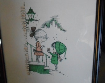 RARE 1961 Litho Joan Walsh Anglund Framed Christmas Pictures 11 x 14 inch Boy giving girl Present