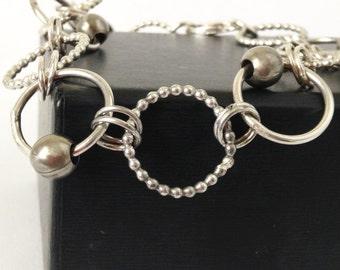 Handmade Sterling Silver Chain Bracelet - Handmade Link Bracelet - Graduation Gift - 25th Anniversary