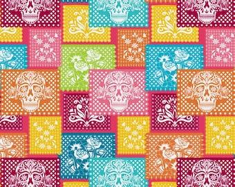 Paper Mache Sugar Skull Fabric By The Yard