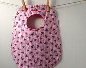 SALE! Cherry Baby Gift - Baby Bib with Cherries - Baby Girl Shower Gift - Toddler Sized Bib with Snaps - Handmade Baby Gift
