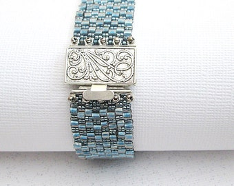 denim blue bead bracelet seed bead cuff blue beaded bracelet boho jewelry