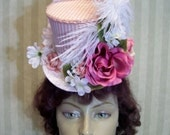 Alice in Wonderland Mini Top Hat Easter Hat Kentucky Derby Hat Mad Hatter Tea Party Flower Mini Top Hat Ascot hat