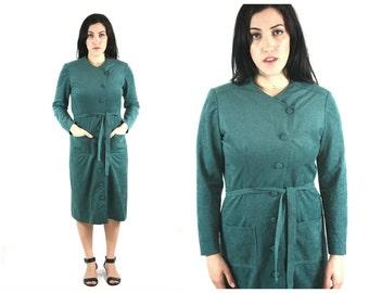 80s Faux Suede Asymmetrical Dress / Vintage Belted Button Up Midi Dress Avant Garde / Size M Medium