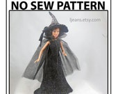No Sew 11 in Barbie Doll Halloween Witch, Hat, and Cape Pattern