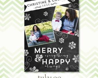 Chalkboard Snowflakes - Holiday Photo Card - PRINTABLE
