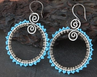 beaded lace hoops
