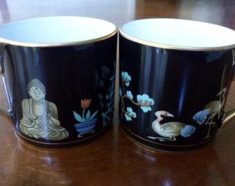 Fitz & Floyd Asian Chinoiserie Demitasse Cup Espresso Budha Pagoda Crane