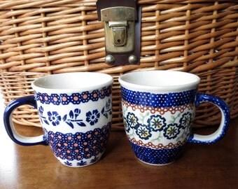 Vintage Polish Cups Coffee Tea Hot Chocolate Blue White
