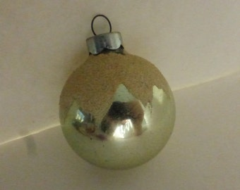 Vintage Shiny Brite Stenciled Ornament Small Pale Blue with Snow