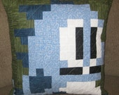 Bubble Bobble / Bust a Move Quilted Pillow Cover - green lines background - free shipping