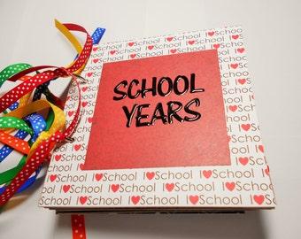 School Years Mini Album, School Scrapbook, School Photo Album, 6x6 album, Premade Album, School Years, School Memory Book, School Book