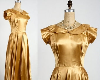 ON SALE Gold Satin Gown . 1950s
