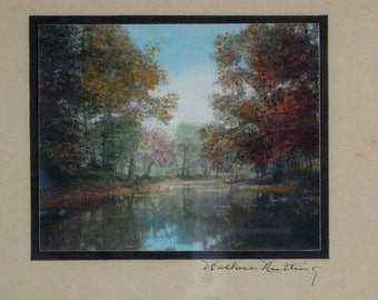 Vintage Wallace Nutting Fall Streamside Scene Handcolored Photograph Framed