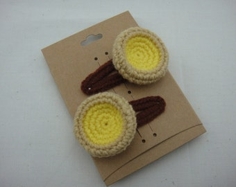 FREE SHIPPING Crochet Snap Clip Hair Accessories - Chinese Food Dim Sum Egg Tart