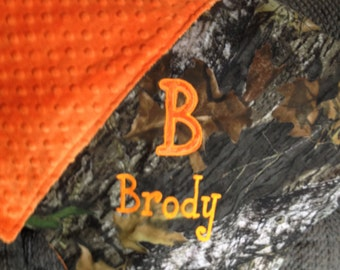 Personalized Mossy Oak or Realtree Camo Camouflage Hunting Blanket  Security Blankie Size 18 x 18 Minky Backing