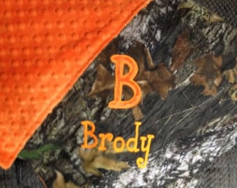Personalized Mossy Oak or Realtree Camo Camouflage Blanket  Security Blankie Size 18 x 18  with Minky Backing