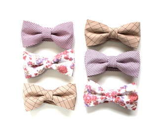 Mismatched Wedding Bow Ties - Blush Bowties - Custom Wedding Bow Ties - Groomsmen Bowties - Pink Wedding Ties- Made To Order - AENDEE