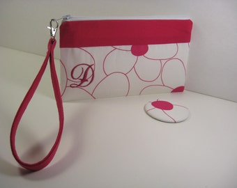 Personalized Wristlet, Cosmetic Bag, Bridesmaid Gift, Clutch with Pocket Mirror - Raspberry Floral