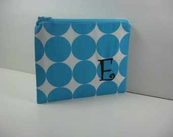 Embroidered  Makeup Bag, Personalized Clutch, Monogrammed Zipper Pouch, Made to Order