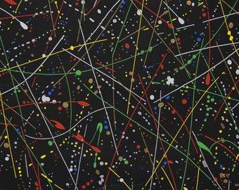 1950s Vintage Wallpaper Atomic Mid Century Colorful Splatter Design on Black by the Yard
