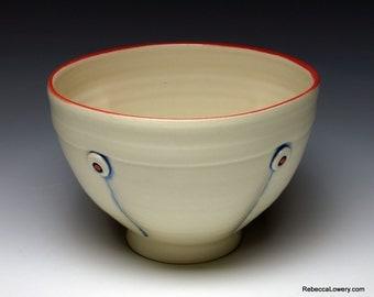 White Button Ceramic Soup Bowl, Cereal Bowl