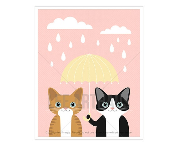 53F Cat Print - Ginger Tabby and Black and White Cat with Yellow Umbrella Wall Art - Cat Lover Gift - Cat Drawing - Cat Nursery Pink Decor