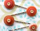 4 orange peach button silver hair bobby pins,hair pins,orange,orange buttons hair pins,orange hair pins,women,teens,girls,